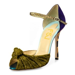Gold Glitter Evening Shoes Peep Toe Sparkly Sandals with Bow