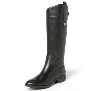 Black Riding Boots Fashion Vegan Leather Low Heel Knee Boots