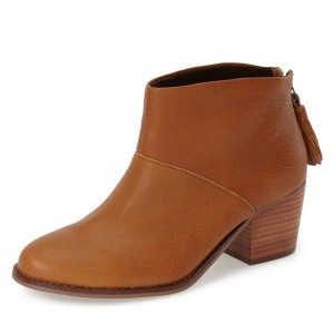 Tan Boots Round Toe Wooden Chunky Heel Vintage Ankle Booties