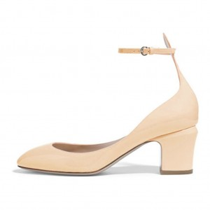 Nude Ankle Strap Heels Round Toe Chunky Heel Pumps for Ladies