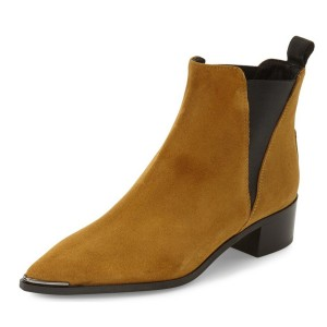 Mustard Suede Chelsea Boots Pointed Toe Chunky Heel Ankle Boots