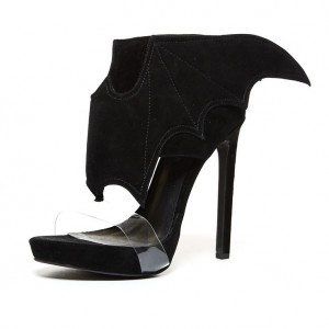 Black Bat Girl Clear Heels Open Toe Stiletto Heel Halloween Sandals