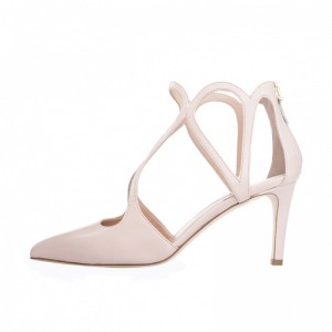 Nude 3 inch Heels Twisted Straps Pointy Toe Stiletto Heels Shoes
