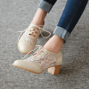 Beige Lace Oxford Heels Round Toe Block Heel Vintage Shoes