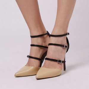 Nude Pointy Toe Sexy Stiletto Heels Buckles Strappy Pumps