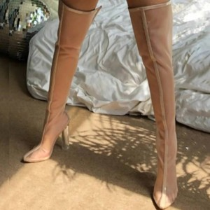Beige PVC Stiletto Boots Pointed Toe Thigh High Boots