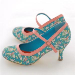 Birds and Flowers Floral Heels  Mary Jane Pumps