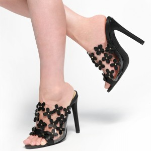 Black and Clear Mule Heels Open Toe Stiletto Heels with Blossom