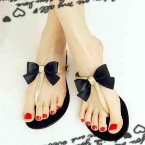 Black and Gold Cute Sandals Flat Beach Flip Flops with Bow