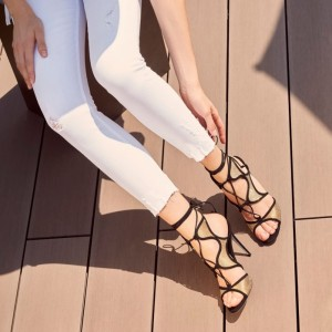 Black and Gold Evening Shoes Lace up Stiletto Heels Strappy Sandals