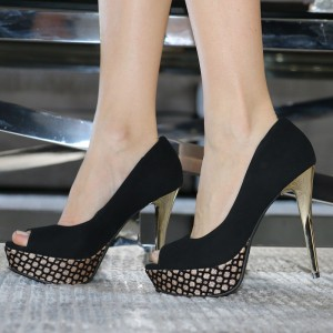 Black and Gold Suede Stiletto Heels Platform Pumps Peep Toe Sexy Shoes