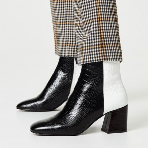 Black and White Lizard Printed Block Heels Ankle Booties with Zipper