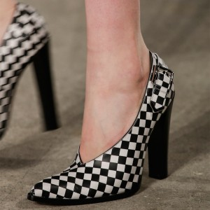 Black and White Heels Plaid Pointy Toe Chunky Heels Pumps