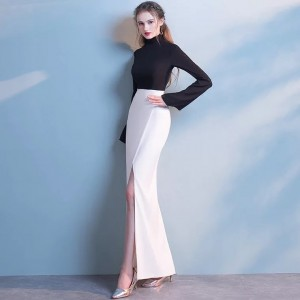 Black and White Satin High Neck Front Split Mermaid Evening Dresses
