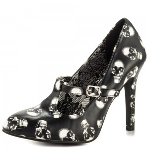 Black and White Skull Floral Heels Stiletto Heels TStrap Pumps
