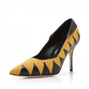 Black and Yellow Contrast Stiletto Heels Pumps