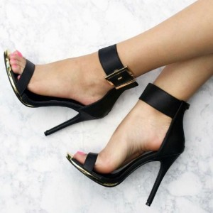 Black Ankle Strap Sandals Open Toe Sexy Stilettos High Heel Sandals