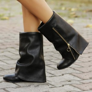 Black Bold Over Zip Wedge Heel Fashion Boots Ankle Boots