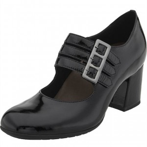 Black Buckles Patent Leather Block Heels Round Toe Mary Jane Pumps