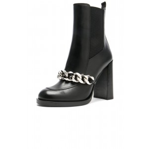 Black Chelsea Boots Round Toe Metal Chains Chunky Heels Ankle Boots