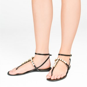 Black Thong Sandals Rhinestone Ankle Strap Flat Summer Sandals