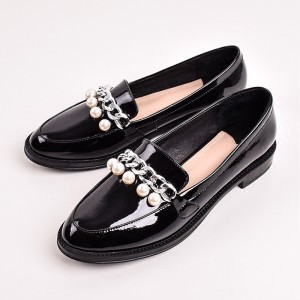 Black Patent Leather Pearls Loafers for Women Vintage Shoes
