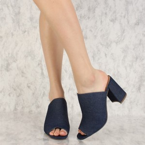 Navy Denim Peep Toe Chunky Heel Mules Sandals