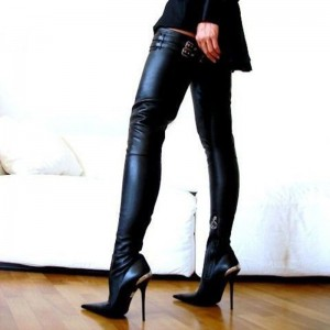 Black Fashion Boots Sexy Pointy Toe Stilettos Thigh-high Long Boots