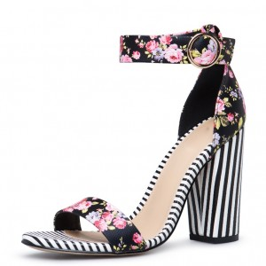 Black Floral Heels Buckle Chunky Heel Ankle Strap Sandals