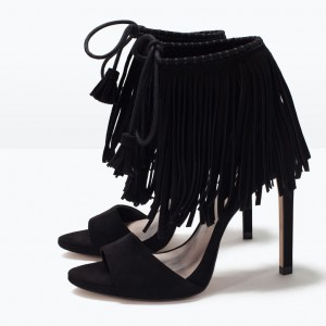 Black Fringe Sandals Suede Lace up Stiletto Heels for Women