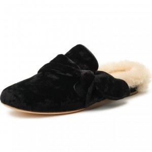 Black Fur Bow Loafer Mules