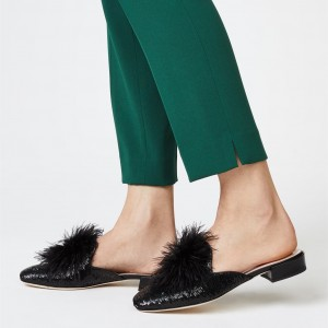 Black Fur Loafer Mule Sequined Comfortable Flats