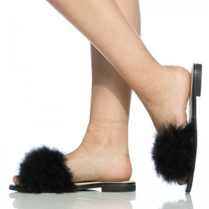 Black Furry Women's Slide Sandals Open Toe Flats