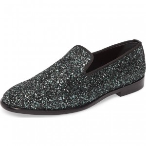Black Glitter Loafers for Women Round Toe Comfortable Flats