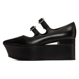Black Mary Jane Buckles Platform Heel Pumps