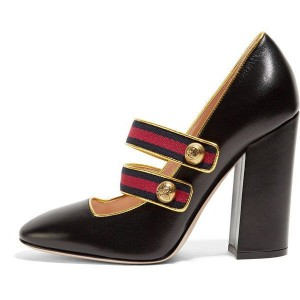 Black Mary Jane Pumps Retro Chunky Heels for Women