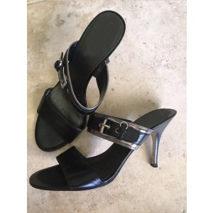 Black Mules heels Open Toe Stiletto Heel Sandals