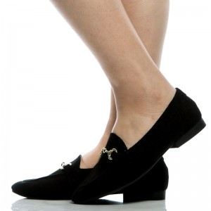 Black Office Shoes Round Toe Loafers for Women