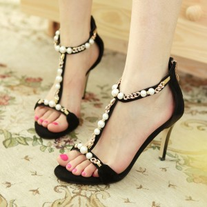 Black Open Toe Stiletto Heels Rhinestone T Strap Sandals with Pearl