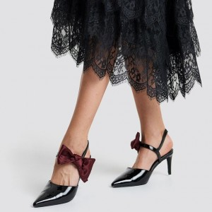 Black Patent Leather Burgundy Bow Slingback Heels Pumps