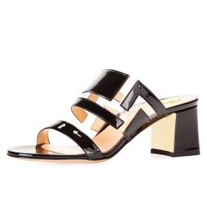Black Patent Leather Clear PVC Block Heels Mule Sandals