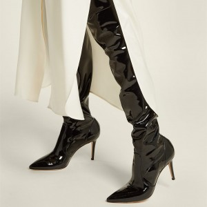 Black Patent Leather Thigh High Heel Boots Stiletto Heel Boots