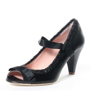 Black Peep Toe Mary Jane Pumps Cone Heel Vintage Shoes with Bow