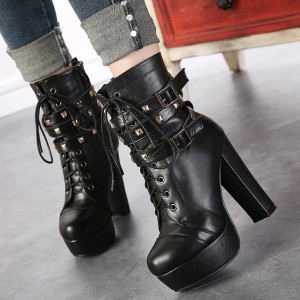 Black Platform Vegan Boots Chuny Heel Lace up Rock Studs Ankle Boots