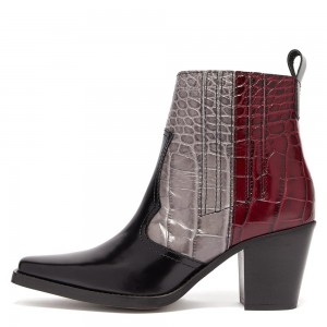 Multi-Color Square Toe Block Heel Boots Ankle Boots