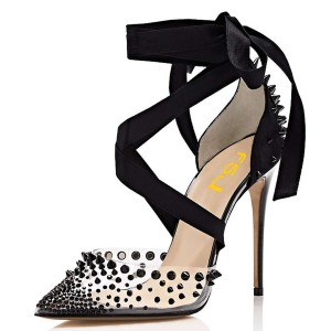 Black Pointy Toe Clear Heels Studs Shoes Transparent Cross over Pumps