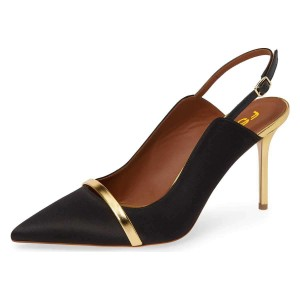 Black Pointy Toe Gold Strap Stiletto Heel Slingback Pumps