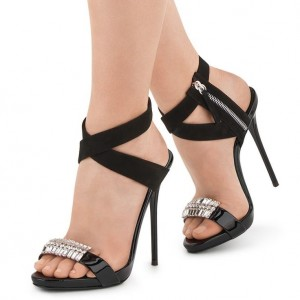 Black Prom Shoes Open Toe Rhinestone Stiletto Heels Slingback Sandals
