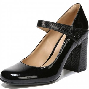 Black Python Strap Mary Jane Pumps Patent Leather Chunky Heels Shoes