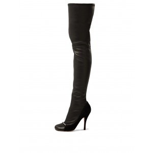 Black Rhinestones Square Toe Thigh High Heel Boots